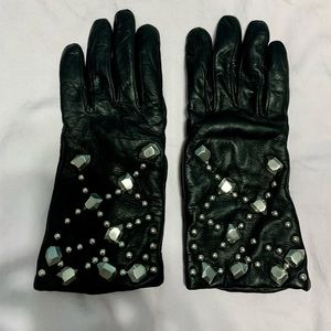 DVF leather /stud gloves.